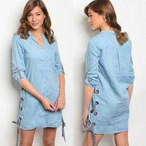 LAST Light Denim Shirt Dress with Gingham Lace